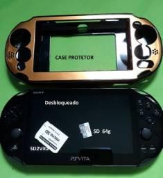 PS Vita Desbloqueado + SD2Vita + SD 64g + Carregador Original e Manuais