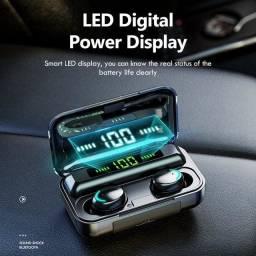 Fones bluetooth 5.0 com caixinha carregadora LED