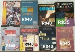 Lote de livros didáticos novos e usados