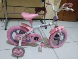 Bicicleta infantil aro 12 com rodinhas rosa corujinha.