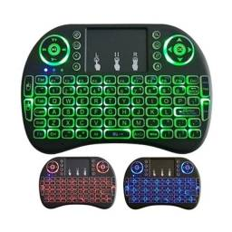 Mini Teclado Sem Fio Wireless Led 3 Cores Touchpad Para C/ Consoles Smart TVs Box PC Note