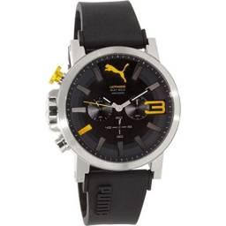 Relogio puma ultrasize 50mm preto com amarelo original