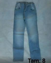 Calças jeans infantil 3 unidades tam. 8