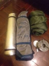 Kit Camping Barraca, espiriteira, saco de dormir, isolante