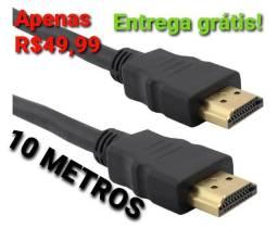 Cabo HDMI 10 metros, Full HD, 3D, Entrega grátis