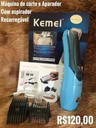 Máquina de cortar cabelo com aspirador - Recarregável