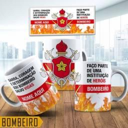Caneca para Café Chá Personalizada Profissões Bombeiro
