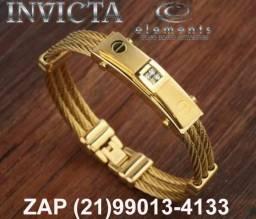 Pulseira Bracelete Masculina invicta corrente de Zeus aço banhado a ouro 18k