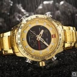 ae00943cb87 Relógio Masculino Naviforce 9093 Original- Dourado Aço inoxidável