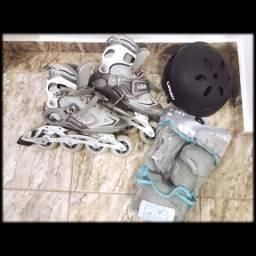 Patins Fila Primo Evo Lady ABEC 7 + Kit Proteção