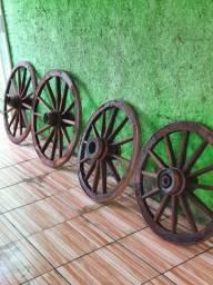Roda de Carroça Madeira Antiguidade
