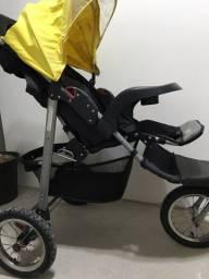 Carrinho Travel System Prime Baby Triciclo Velloz - cor preto e amarelo