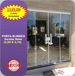 Porta blindex 2,00 x 2,10 (Instalada)