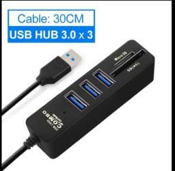 Hub USB 3.0 com entrada SD e adaptador SD