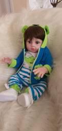 Lindo bebê reborn menino siliconado com enxoval luxo.