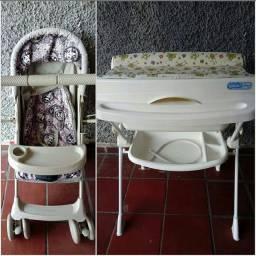 Carrinho de bebê + banheira
