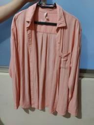 Camisa rosa, M, mas veste G.