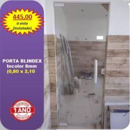 Porta Blindex 0,80 x 2,10 (Instalada)