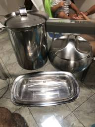 Kit inox: jarra, farofeira e manteigueira