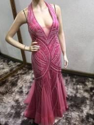Vestido novo rosa bordado