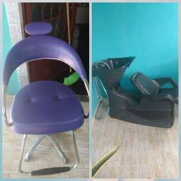 Cadeira e lavatório de salão