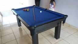 Mesa Tentação Sinuca Cor Marrom Escuro Tecido Azul Mod. FWRO7509