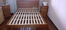Cama de casal madeira maciça + colchão