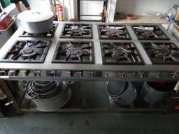 Fogão 8 bocas industrial aço inox