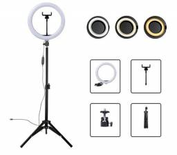 RING LIGHT ILUMINANDOR DE LED 26CM COM ADAPTADOR PARA CELULAR TRIPÉ RETRÁTIL 1,70CM