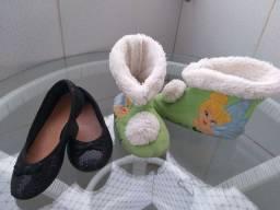 Sapatilha 27 + bota/pantufa pelúcia 26