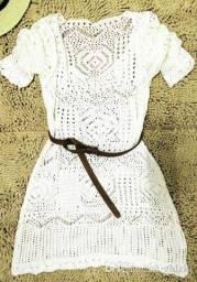 Mini vestido de um tamanho sexy feminino rendas crochê vestido de praia de verão