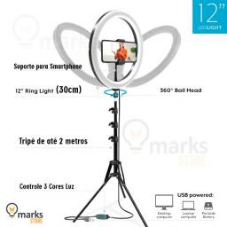 """Ring Light 30 cm (12"""") Profissional com Suporte para Smartphone + Tripé 2 Metros"""
