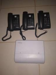 PABX Intelbras 2 linhas X 8 Ramal, usado + 3 telefones