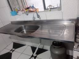 Pia de cozinha de inox 180cm