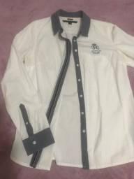Camisa branca com detalhes em jeans Tommy Hilfiger