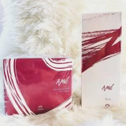 Kit amó natura perfume 75ml + caixa de sabonete com 3 unidades + sacola de presente