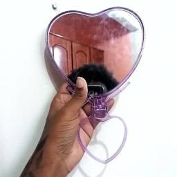 Espelho De Mesa Acrilico Formato de Coração Lilás 24cmx15cm