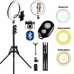 "Ring Light 26cm / 10""+ Tripé 2,10m + Suporte de Celular + Controle Selfie/Filmagem"