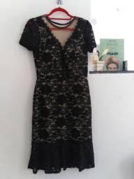 Vestido preto de renda fest aniversário casamento convidadas