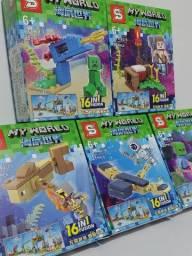 Mini Lego Minecraft 165 peças Miniblocks My World Personagens 16 in 1