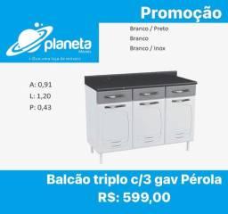 balcão triplo c 3 gavetas Pérola Promoção