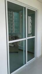 Porta aluminio branco vidro 6mm