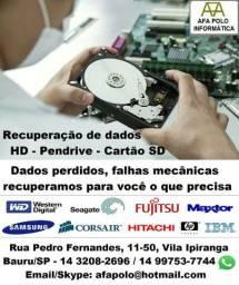 Recuperação de dados de HD, HD externo, pendrive, SD. Bauru/SP