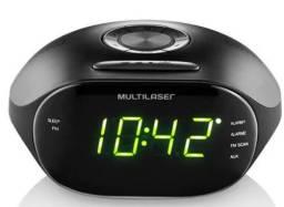 Rádio Relógio Multilaser SP202 FM Bivolt com Despertador