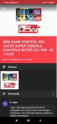 Carregador portátil, mini game retro e mouse 1200dpi