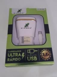 Carregador 3.1 A Celular  Ultra Rápido 2 Entrada Usb