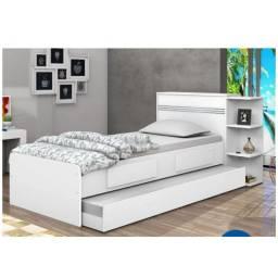 Cama solteiro com baú, duas gavetas e cama auxiliar