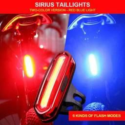 Lanterna Led Azul e Vermelha Sinalizador Traseira Recarregável Bicicleta