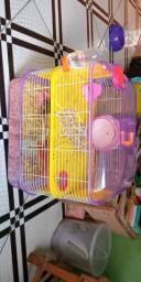 Gaiola para hamster dois andares, tubo, comedouro, bebedouro