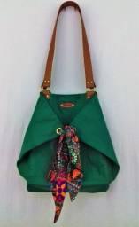 Bolsa saco em tecido cor verde esmeralda